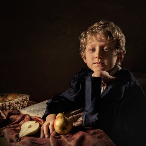 Boy with pears